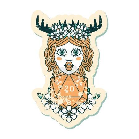 Grunge sticker of a human druid with natural twent...
