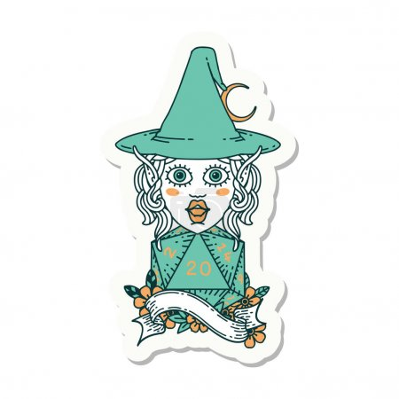 Sticker of a elf mage character with natural twent...