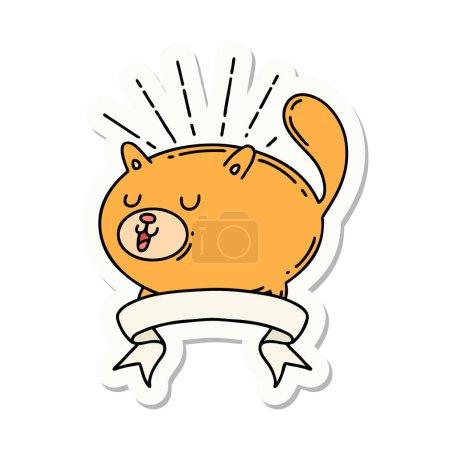Sticker of a tattoo style happy cat...