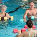 Senior couple in training session of aqua aerobics...