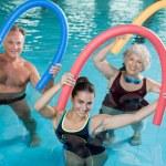 Portrait of smiling people doing aqua fitness toge...