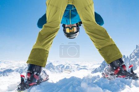 Skier man enjoy winter snow