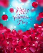 Šťastný valentines den v rukou text na rozostřeného pozadí s okvětními lístky růží. Vektorové ilustrace. Růžové, fialové, červené, modré barvy