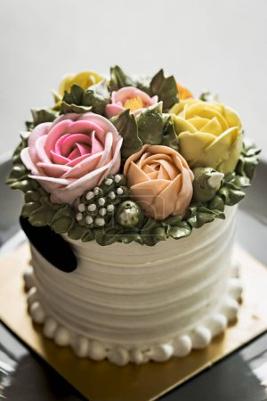 Photo for Butter cream Cake with pastel cream in Roses shape on top - Royalty Free Image