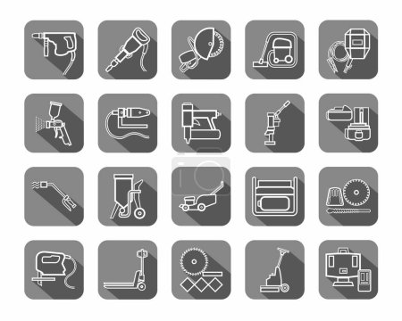 Construction tools, consumables, icons, contour, gray.