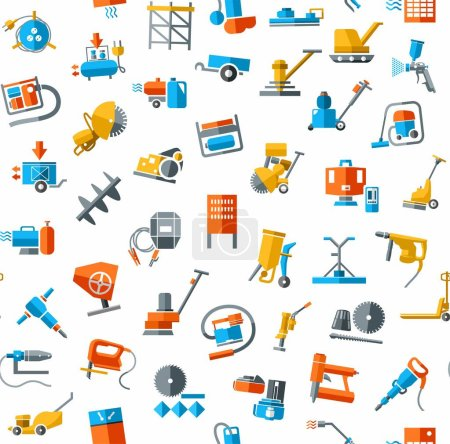 Construction equipment and tools, seamless background, white, color.