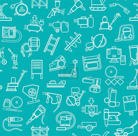 Construction equipment and tools, seamless pattern, blue green, contour.