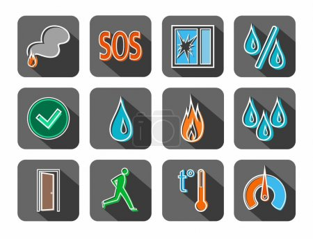 Alarm, fire detectors, humidity, motion, temperature, icons, colored, contour, gray.