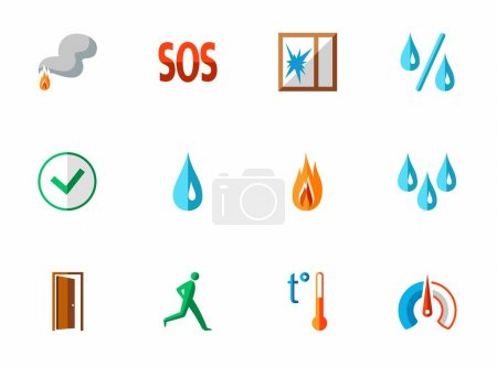 Alarm, fire detectors, humidity, motion, temperature, icons, colored, flat.