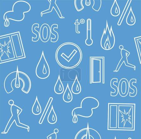Alarm, background, seamless, fire detectors, humidity, motion, temperature, contour, blue.