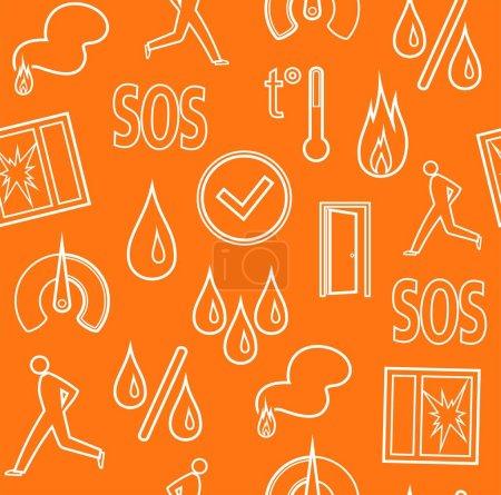 Alarm, background, seamless, fire detectors, humidity, motion, temperature, contour, orange.