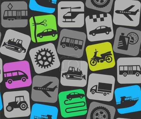 Illustration pour Icônes plates colorées de voiture, moto, bateau et camion sur un fond gris foncé. Fond vectoriel . - image libre de droit