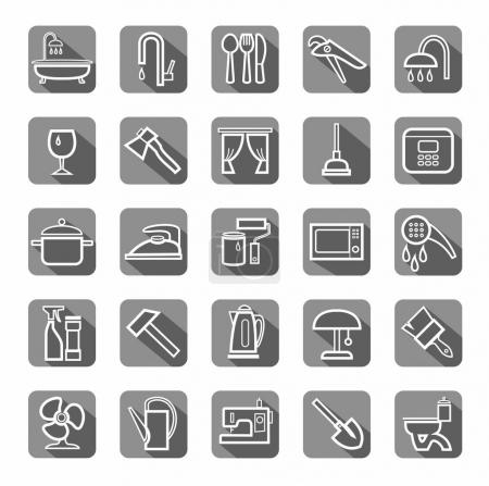 Household goods, tools, appliances, icons, flat, vector.