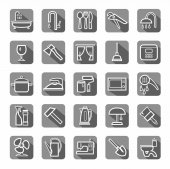 Household goods tools appliances icons flat vector