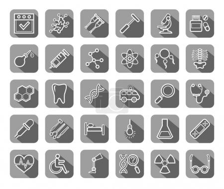 Medicine, icons, contour drawing, flat, gray, vector.