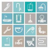 Plumbing and water supply badges shading pencil colored vector Plumbing tools and spare parts Square icons Vector clip art Hatching with a white pencil on the color field Texture simulation