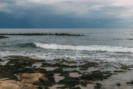 Photo for Mediterranean sea against cloudy sky in evening - Royalty Free Image