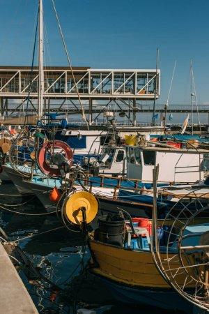 sunshine on docked ships in port of mediterranean sea