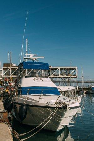 sunshine on docked yacht in mediterranean sea