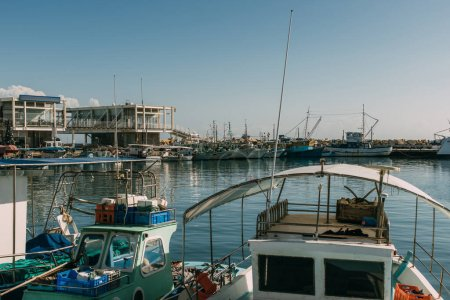 sunshine on docked ships in mediterranean sea