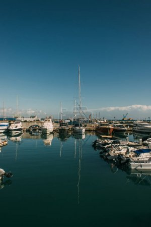docked modern yachts in mediterranean sea
