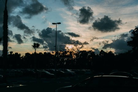 Photo for Cars on modern parking during sunset in evening - Royalty Free Image