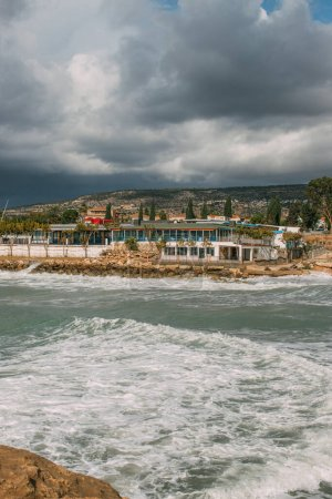 Photo for Houses and trees near mediterranean sea in cyprus - Royalty Free Image