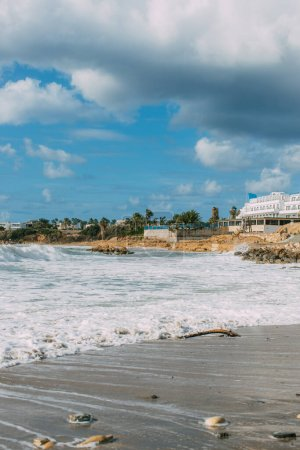 Photo for White building near mediterranean sea against blue and cloudy sky in cyprus - Royalty Free Image