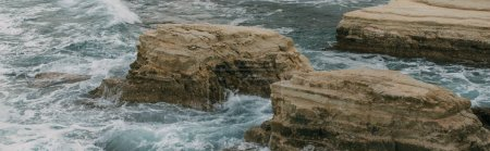 Photo for Panoramic shot of stones near water in mediterranean sea - Royalty Free Image