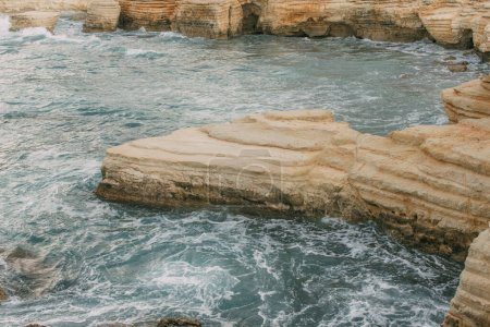 Photo for Wet stones in water of mediterranean sea in cyprus - Royalty Free Image