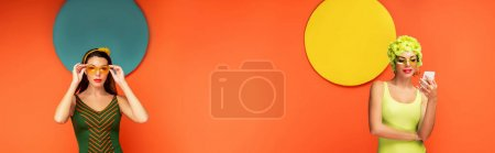 Photo for Woman in sunglasses with smartphone and colorful circles behind on orange background, panoramic shot - Royalty Free Image