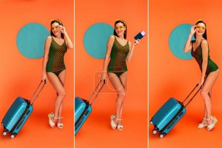 Foto de Collage de mujer feliz con maletas, pasaporte y billete de avión sonriendo con círculos azules detrás en naranja - Imagen libre de derechos