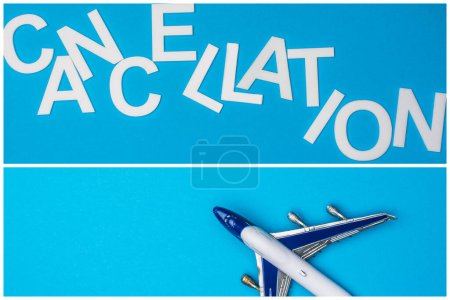 Collage of lettering cancellation and toy plane on blue background