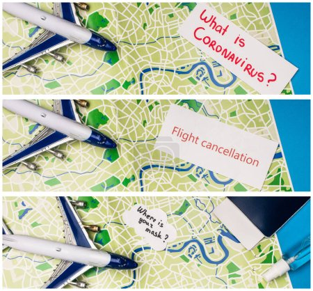 Photo pour Collage d'avion jouet, cartes avec ce qui est coronavirus, annulation de vol et où est votre masque près de passeport sur la carte sur fond bleu - image libre de droit