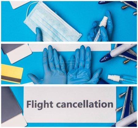 Photo pour Collage du médecin tenant un masque médical près de l'avion jouet, carte avec lettrage d'annulation de vol et passeport avec billet d'avion sur fond bleu - image libre de droit
