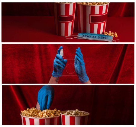 Foto de Collage de mujer en guantes de látex con desinfectante de manos y palomitas de maíz cerca de la máscara con letras de estancia en casa con terciopelo rojo en el fondo - Imagen libre de derechos