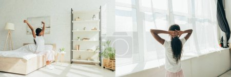 Photo for Collage of african american girl in pajamas stretching hands on bed and standing near window, panoramic shot - Royalty Free Image