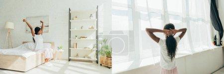 Photo pour Collage de fille afro-américaine en pyjama étirant les mains sur le lit et debout près de la fenêtre, vue panoramique - image libre de droit