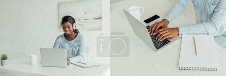 collage de pigiste afro-américain dans des écouteurs sans fil travaillant sur ordinateur portable à la maison, culture panoramique