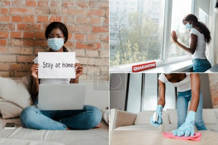 Photo for Collage of african american freelancer in medical mask with laptop holding placard and woman cleaning up and standing near windows in living room - Royalty Free Image
