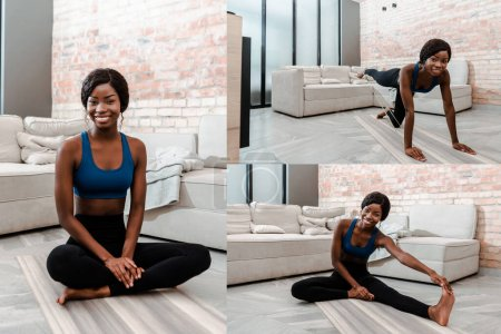 Photo for Collage of african american sportswoman in lotus pose and on all fours stretching and smiling on yoga mat in living room - Royalty Free Image