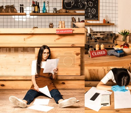Collage of shocked cafe owner on floor looking at paper and woman near documents, calculator and smartphone at table