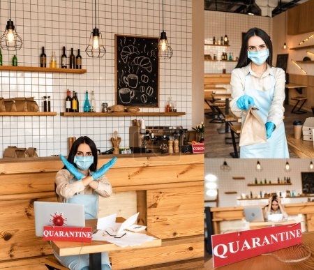 Photo for Collage of cafe owner in medical mask showing paper bag and no sign at table with papers, laptop and card with quarantine inscription - Royalty Free Image