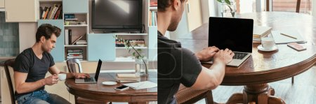 Photo for Collage of young man holding cup of coffee while using laptop at home, horizontal image - Royalty Free Image