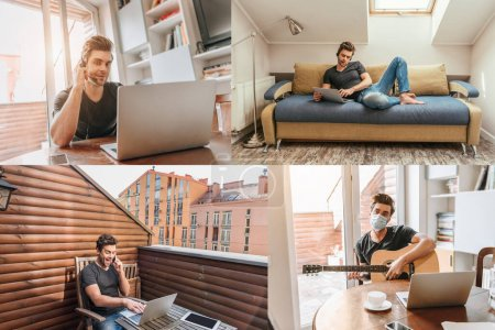 Photo for Collage of man in headset sitting at table and lying on sofa, talking on smartphone on balcony, and man in medical mask playing guitar near laptop - Royalty Free Image