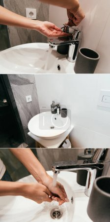 Photo pour Collage avec femme se lavant les mains dans la salle de bain pendant la quarantaine - image libre de droit