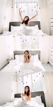 collage avec femme heureuse étirant et tenant tasse de café tout en étant assis dans le lit le matin pendant l'isolement personnel