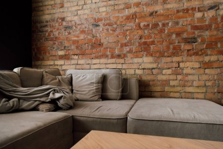 interior of living room grey sofa and table