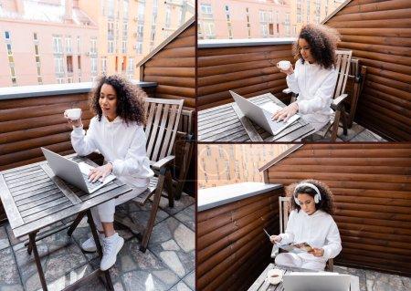 Photo pour Collage de pigiste afro-américain dans des écouteurs sans fil à l'aide d'ordinateurs portables et de gobelets - image libre de droit