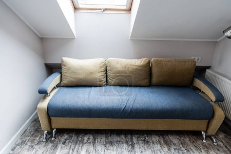 Photo for Soft pillows on modern sofa in living room - Royalty Free Image